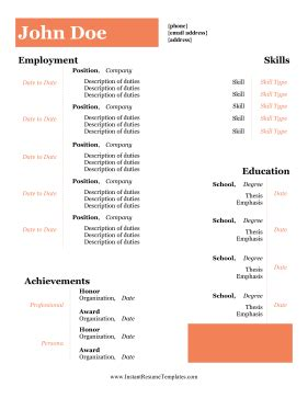 Sample resume with no college education